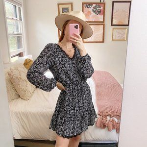 Maurices Black Floral Lace Long Sleeve Dress
